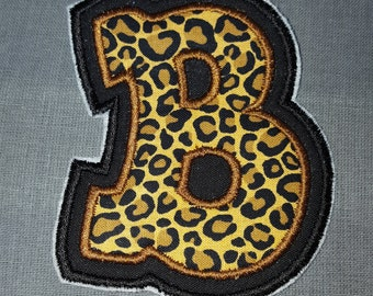 Alphabet Letter B Hip Hop Cheetah Iron on No Sew Embroidered Patch Applique