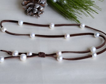Pearls On Leather Necklace/Lariat Deerskin Leather And Pearls Long Pearl Necklace Boho Bohemian Holiday Gifts For Her Yevga