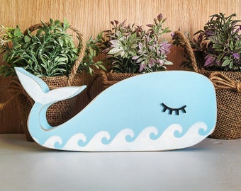 Sleepy whale | nursery decor | wooden whale | Kids room decor | whale shape