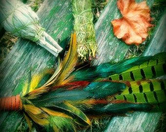 BACKORDERED Until Jan 30: Smudge Fan-Pheasant-Hen Pay w PayPal get a free spell in the box! -Blue-Green-Yellow -Cruelty free feathers henna
