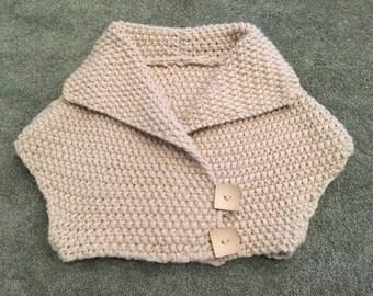 Handmade Chunky-Knit Bolero Sweater with Button Detail