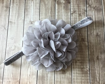 Gray and Silver Glitter - Large Flower Headband - Flower Girl Newborn Baby Infant Toddler - Wedding Lace Chiffon Flower Over the Top Huge