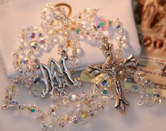 Catholic Swarovski AB Crystal Rosary Beads