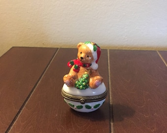Christmas Bear Porcelain Hinged Box
