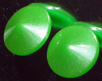 Hollywood Vintage Bakelite Carved Earrings Green Mid Century Unique Opaque Jello Art Modernist Eames Era Translucent Pierced Catalin 50s 60s