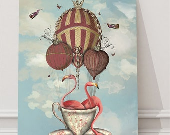 Pink Flamingos Teacup Pink Flamingo print pink Flamingo art print pink Flamingo Poster Nursery Art Kids Rooms hot air balloon wall art