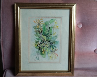 Original Painting of Plants and Flowers Still Life Elizabeth Hawkins.
