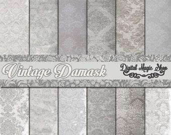 12 Grey Vintage Damask Pattern Digital Papers Pack - (paper crafts,card making,scrapbooking)