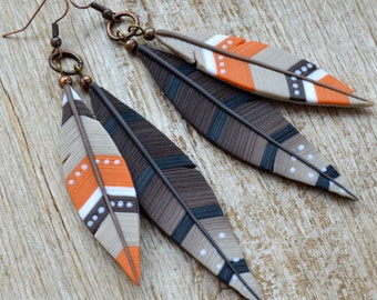Feather earrings Statement jewelry Long earrings Southwestern jewelry Feather jewelry Native jewelry Southwestern earring Western jewelry