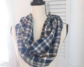 Blue plaid flannel infinity scarf