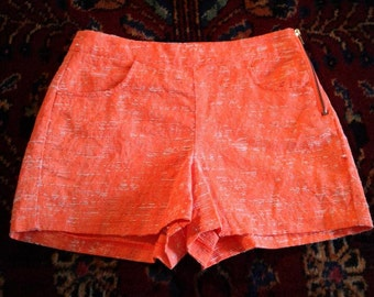 Bright Orange Side Zip Shorts