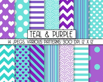 "Scrapbook Digital Paper ""Purple & Teal"" Commercial Use INSTANT DOWNLOAD, perfect for graphic design projects, item C131"