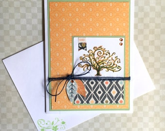 Thank You Greeting Card Fall Thanksgiving Handmade Paper Card Give Thanks Thankful