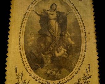Antique French Virgin Religious Textile, Large Church Banner, Heavenly Angels Roses Wall Hanging, Catholic Belle Epoque Victorian Home Decor