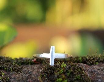 Sideways Cross Ring - Handcrafted Silver Cross Jewelry