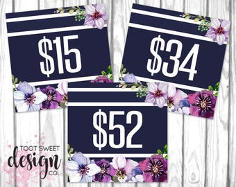 Piphany Pricing Cards, Online Shop Sign, Piphany Price Card 5x5, Facebook Album Covers, Navy Purple Floral Price Tag, INSTANT DOWNLOAD