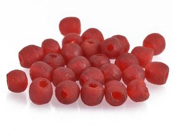 10mm Matte DARK RED Glass Beads Round x10 beads bgl1686