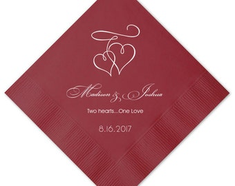 Personalized Napkins Personalized Napkins  Wedding Napkins Custom Monogram Hearts Love Beverage Luncheon Dinner Guest Towels Available