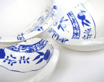 bowls with modern onion pattern as a set of three handmade porcelain bowls  for snacks, fruit or other little things