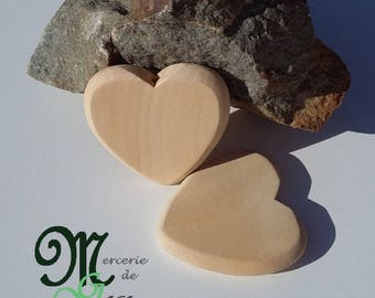 Large wooden bead clear heart 5 cm.