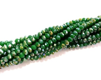 90 Pcs (6x5 mm) Dark Green Rondelle Faceted Glass Beads , 1 strand approx.  45 cm  ( approx. 17,5 inch) G2554