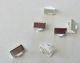10 Ribbon silver metal pinch 1 cm