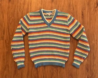 Vintage 80s Rainbow Pastel Striped Knit Sweater M