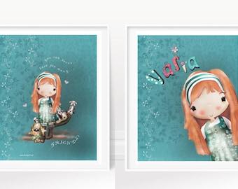 girl's art print/nursery art/cute girl illustration/name art print/ Vasia