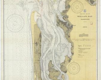 Willapa Bay Washington Historical Map 1928