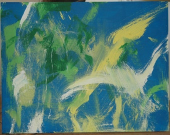 """Painting by a Pony """"Birds"""" Original acrylic on canvas"""