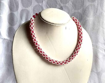 Pink Necklace, Pink Beaded Necklace, Pink Choker Necklace, Choker Necklace, Beaded Choker, Tubular Necklace, Rope Necklace, Chokers