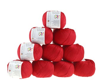 10 x 50g knitted yarn Dainty cotton, #08 red