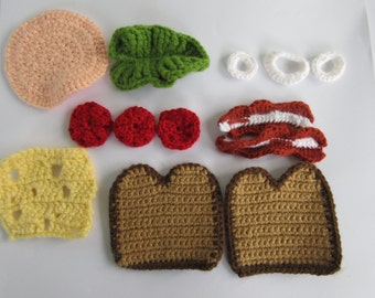 Sandwich kit, build your own sandwich, crochet, play food, kids play food, toy food