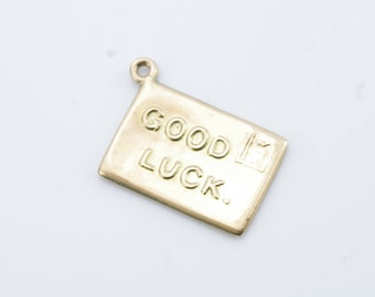 Vintage 9K Yellow Gold 'Good Luck' Envelope Charm
