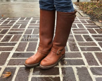 Mens Brown Leather Riding Boots, Made in USA Chippewa, Biker Hunting Snake Boot, Neoprene,  Mens 7 US