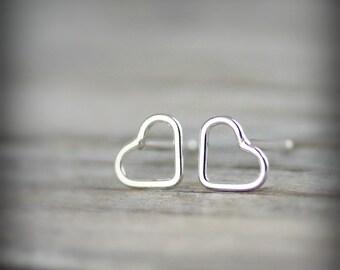 Tiny open heart earrings - sterling silver earrings