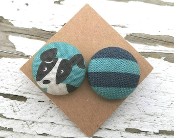 """Fabric Button Post Stud Earrings - Mismatched Dog and Blue Stripes - 3/4"""""""