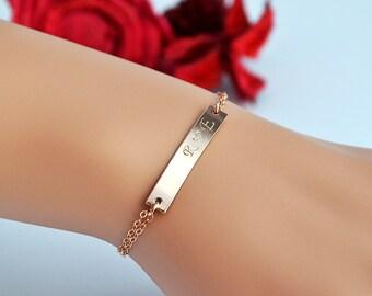 Rose Gold Bar Bracelet, Personalized Bar Bracelet, Custom Initial Bracelet, Nameplate Gold Bar Bracelet