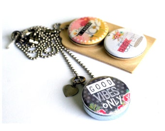 Choose Joy Locket Necklace, Good Vibes Locket Necklace, New Beginnings, Gift for Her, Magnetic 3 in1 Jewelry, Recycled Art Locket, Joyful