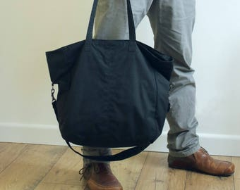 Waxed canvas tote, waxed canvas shopper, black purse, messenger bag, waxed bag, unisex tote, vegan bag, crossbody bag - The Black 2 Way Tote