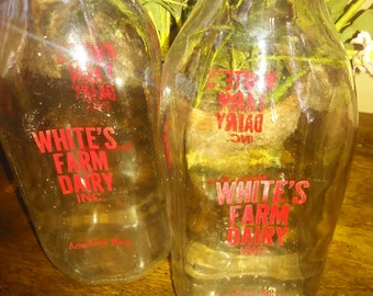 Glass Milk Bottles/Vintage Milk Bottle/Old Milk Bottle/Glass Bottle/Milk Bottle/Dairy Bottles/Farm Bottles/Glass Bottles/Vintage Milk/Milk