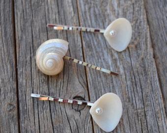 Mermaid, Beach Wedding, Seashell Hair Accessories, Hair Pin Bridesmaids, Pearl Turban Hair Pin, Shell Hair Pin, Beach Hair Accessory