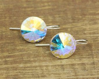 Swarovski Crystal Aurora Borealis Earrings, Bridal Drop Earrings, Bridesmaids Gift, Sterling Silver Earrings, Swarovski Rivoli Earrings