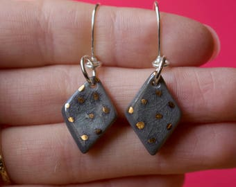 Polka dot earrings / Unique earrings / Porcelain earrings / Ceramic earrings / Sterling silver / Ceramic jewelry