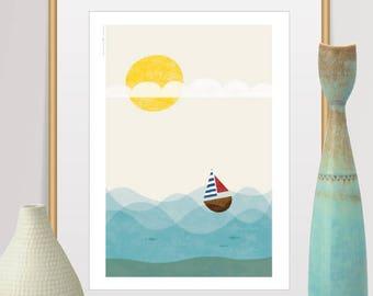 Mid Century Modern Art, Art Print, Travel poster, Scandinavian Modern, Nursery Decor, Ship Print, Sea Print, Baby Room Decor, Modern Art