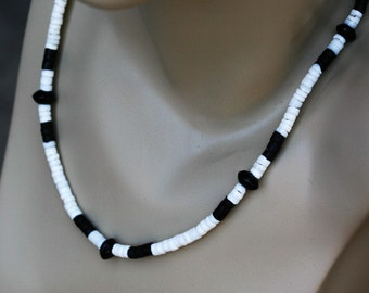 Mens black and white heishi necklace, Mens 19 inch heishi necklace