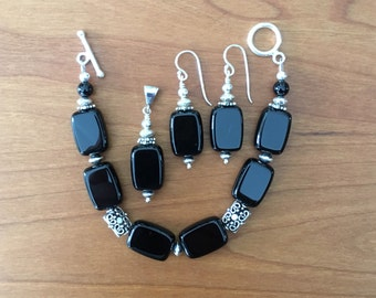 black onyx and sterling silver jewelry set