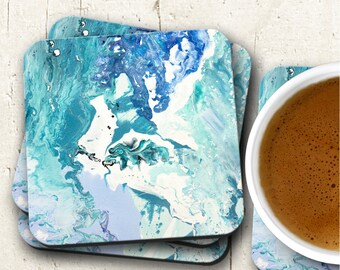 Blue Marble Design Coasters, Housewarming Gift, Cork Backed Coasters