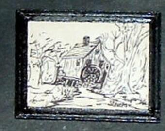 Miniature HOUSE W/ Water Wheel Line Drawing - Framed (Marilyn Stevens)