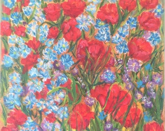 Red and Blue Wildflowers, original oil painting